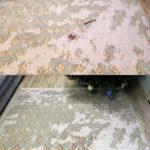 Химчистка потертого голубого ковра