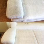 Химчистка подлокотника белого дивана